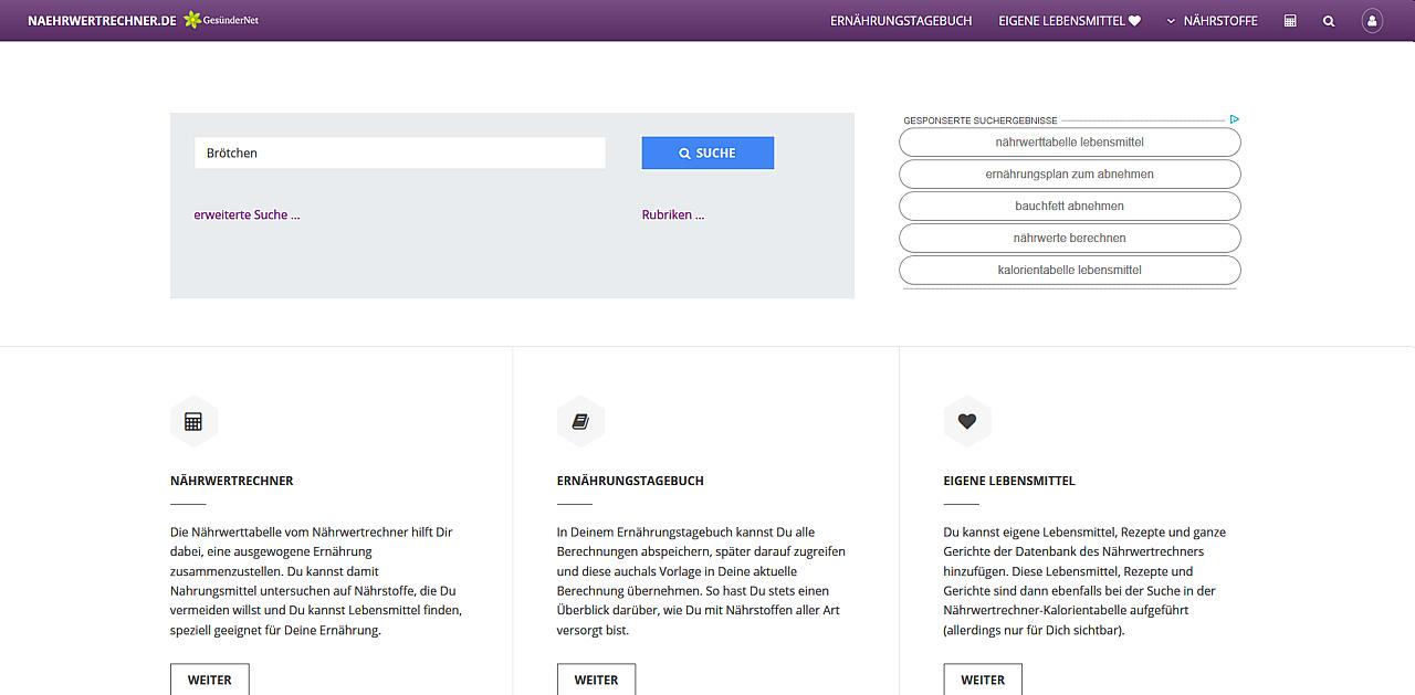 """Startseite www.naehrwertrechner.de mit Eintrag """"Brötchen"""" im Suchfeld"""
